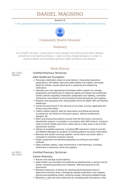 223 best Riez Sample Resumes images on Pinterest Sample resume - health educator resume