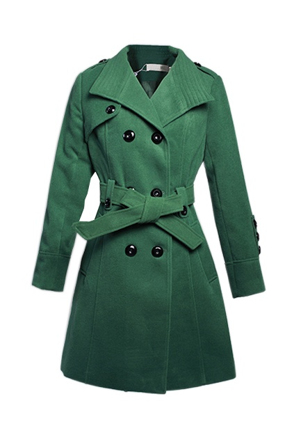 Double Breasted  Lapel Green Coat