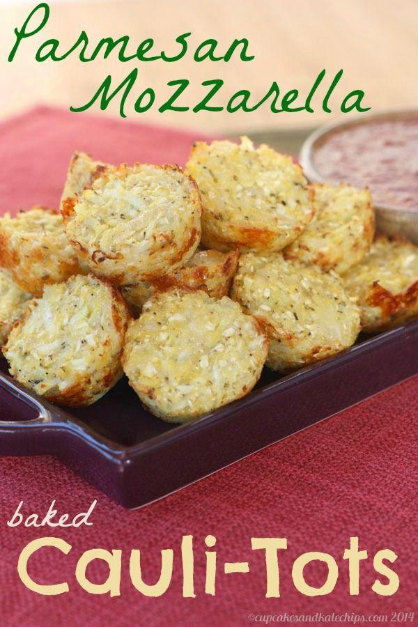 Parmesan Mozzarella Baked Cauli-Tots (aka Pizza-Tots) - transform cauliflower into a fun and sneaky appetizer or side dish | cupcakesandkalechips.com | gluten free
