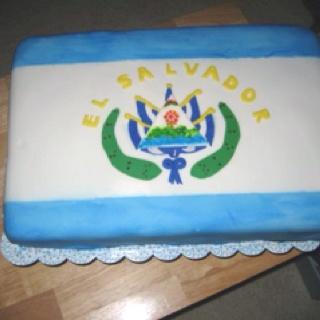 Salvadorian Flag Cake
