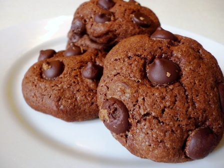 chocolate chocolate chip cookie -  These are delicious, chewy chocolate cookies with dark chocolate chips. Easy to make - so make them with the kids this afternoon.