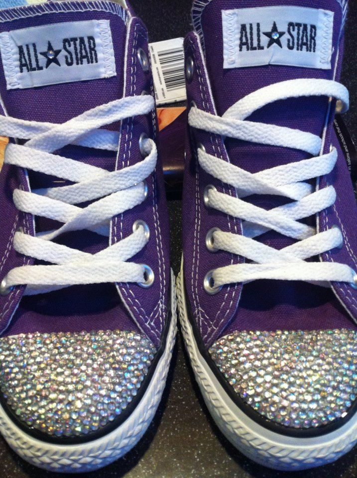 gonna get me a pair of these to wear under my wedding dress! Purple blinged out converse :)