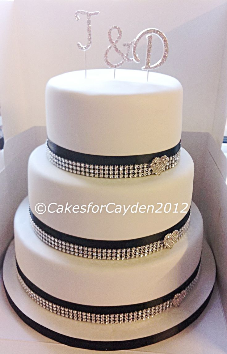 Rustic white amp gold for christian s baptism cake cakes dessert - 3 Tier White Wedding Cake With Black And Bling Ribbon Diamonte Hearts And Initial Topper