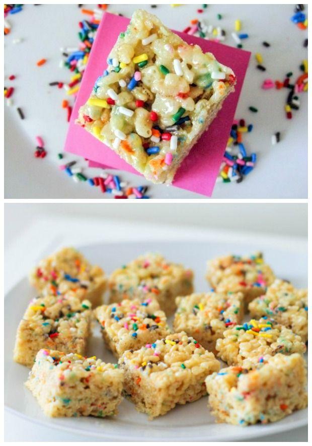 Easy Cake Batter Rice Krispie Treats. So simple, always a hit.