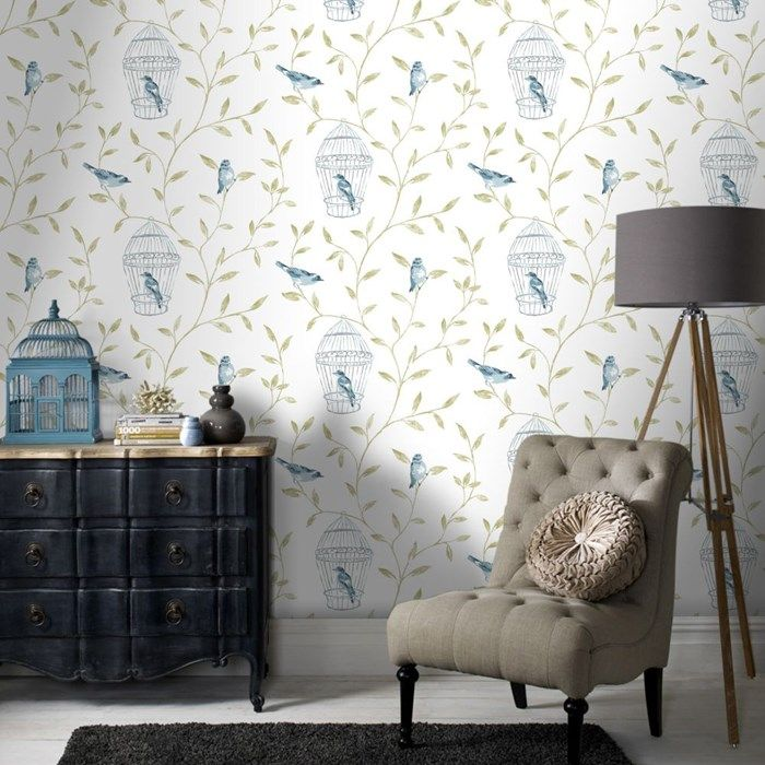 Birds and Cages Teal Wallpaper 19 best