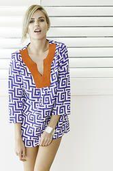 Whitehaven Tunic Top #orange #geometric #blue #print #ss13-14 #contrast #charlottehawke