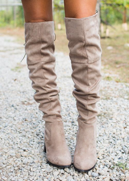 Over The Knee Boots! Boutique, Online Boutique, Womens Boutique, Modern Vintage Boutique, Boots, Tall Boots, Tan Boots, Tie Up Boots, Cute, Fashion
