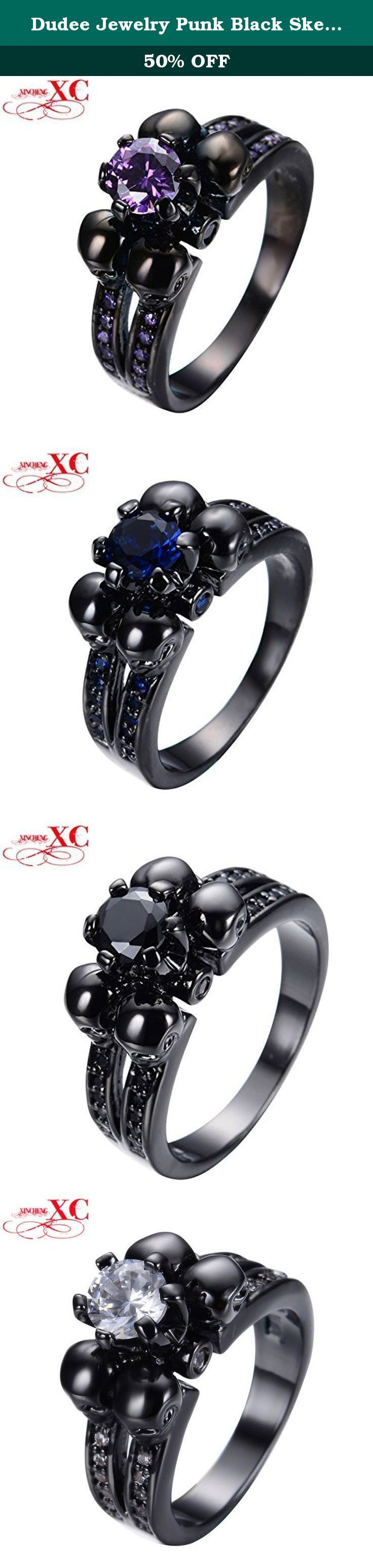 Dudee Jewelry Punk Black Skeleton Colorful Ring /Men Vintage Black Gold Filled Zircon Skull Head Halloween Ring. Dudee Jewelry Punk Black Skeleton Colorful Ring /Men Vintage Black Gold Filled Zircon Skull Head Halloween Ring.