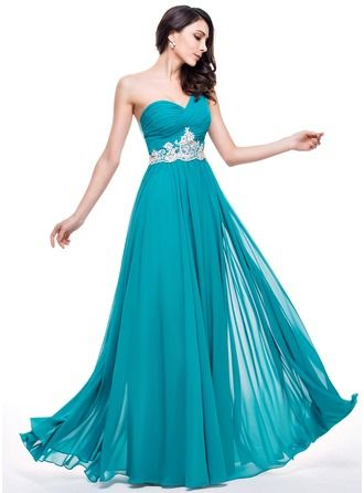 A-Line/Princess One-Shoulder Floor-Length Chiffon Prom Dress With Ruffle Beading Appliques Lace Sequins