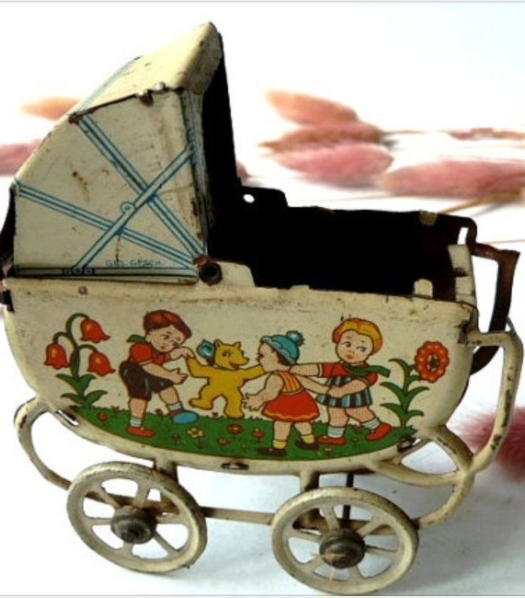 Vintage, tin doll baby carriage