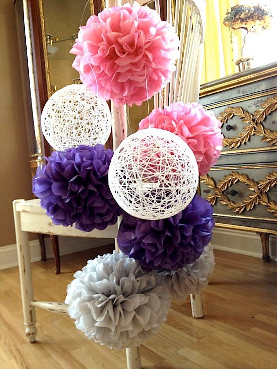 Pink and Purple Pom-Poms with Snowy Cotton Balloons: Pink and Purple Shower/Party Decoration