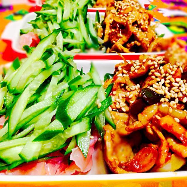 なるべく野菜をとりたいのですが^_^; - 69件のもぐもぐ - 野菜炒めと豚肉の味噌炒め、胡瓜と生ハムサラダ by qpchan