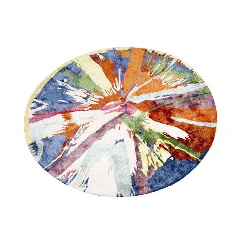 This #Multi Color #Round #Rug in hand tufted with a blend of wool and viscose. Is and ideal combination for a contemporary home