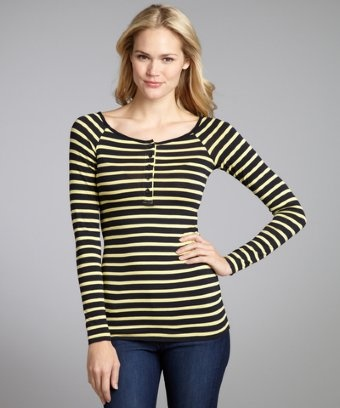 Bailey 44 canary and navy striped blend henley long sleeve top