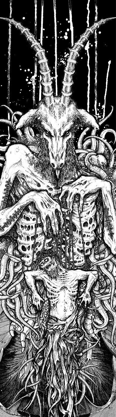 """Christ Puppet"" by Riddickart.  Traditional Art / Drawings / Macabre & Horror  Skateboard deck for Jim Booth/SVART KULT, 2007"