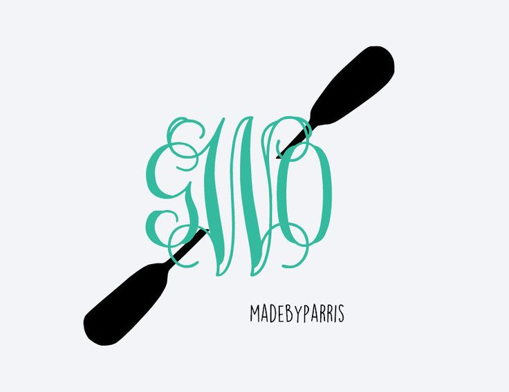 Kayak paddle monogram vinyl decal monogram decal kayak decal car decal yeti