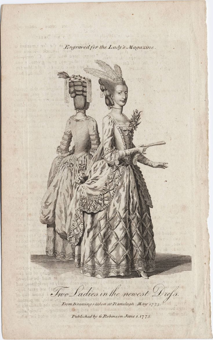 Two ladies in the newest dress : from drawings taken at Ranelagh, May 1775. The Lady's Magazine, London, 1775. Lewis Walpole Library Digital Collection