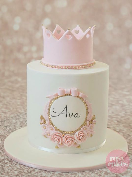 Pink and white cake, pearls, flowers, roses, crown, heart cutouts, girl