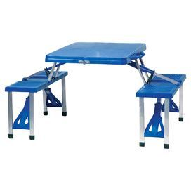 """Portable four-seat picnic table with aluminum alloy frame.      Product: Picnic tableConstruction Material: ABS plastic and aluminum alloy Color: Royal blueFeatures:  Seats fourFolds up for easy carrying convenience Dimensions: 26.5"""" H x 53.5"""" W x 32"""" D (open)"""