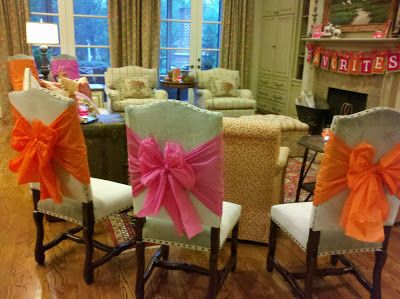 Chair bows using plastic tablecloths