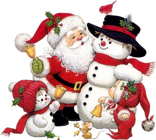 Cute Snowman Santa and Kid Clipart