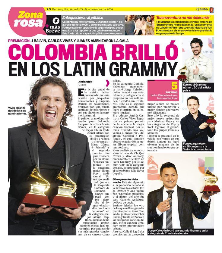 Colombia brilló en los Latin Grammy. Textos: Redacción Q'hubo. Empresa: Q'hubo Barranquilla.