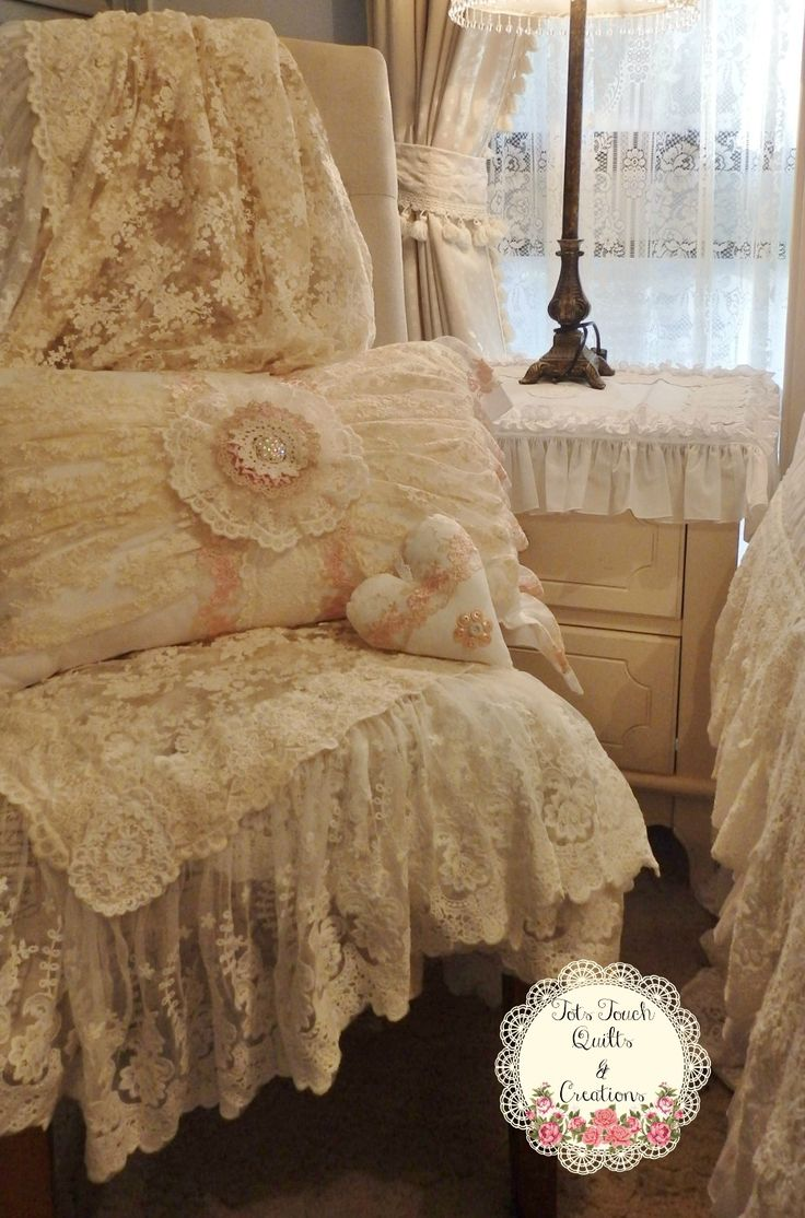 Shabby Chic - White LACE bed set Made By: TOTS TOUCH QUILTS and CREATIONS