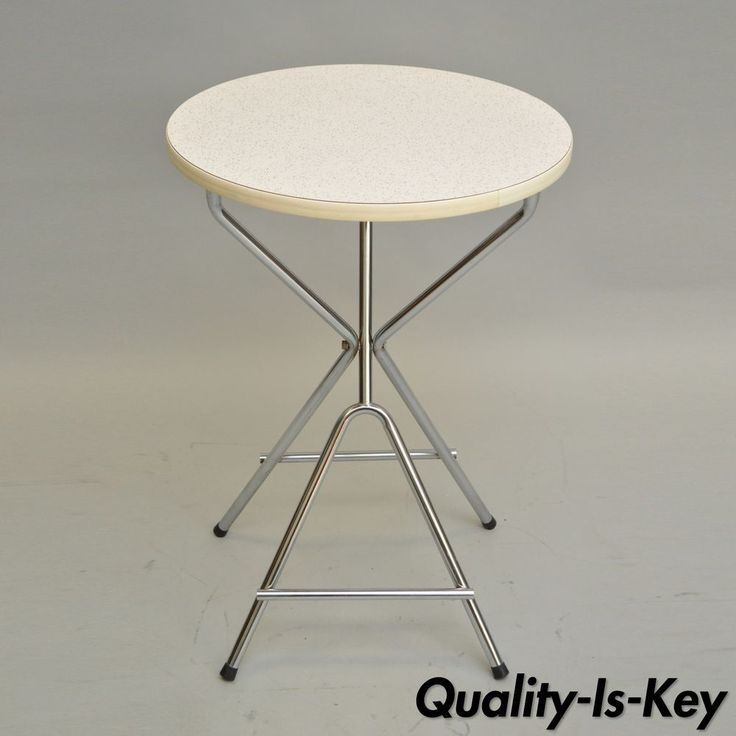 vintage crown mid century modern retro folding stow away round snack side table