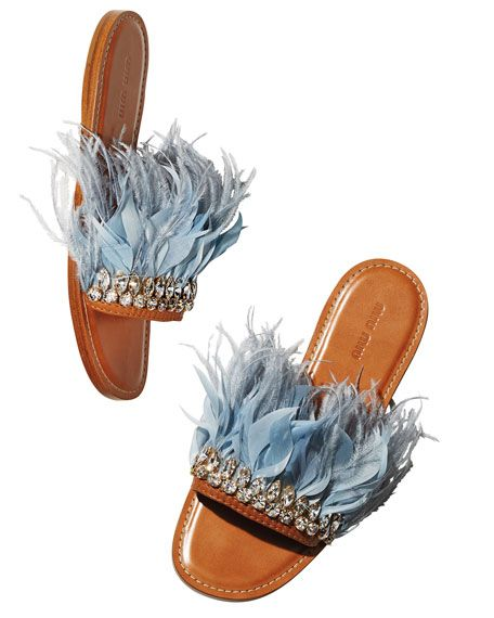Miu Miu Jeweled Feather Mule Slide Sandal $970.00