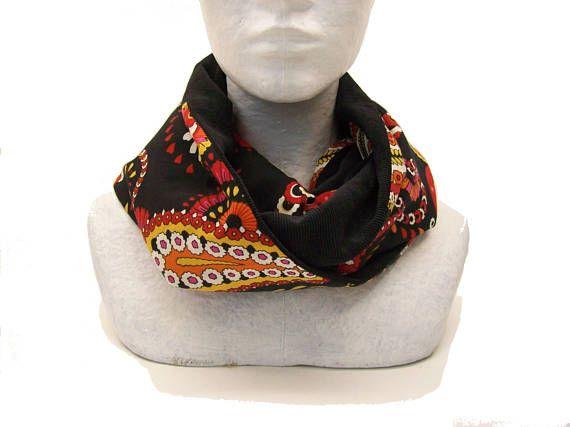 infinity scarf black velvet and paisley  loop scarf for women