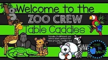 "Perfect for your ""Welcome to the New Zoo Crew"" for your new school year! Included are 24 different zoo animal caddy labels: Giraffes, Gators, Cheetahs, Elephants, Flamingos, Gorillas, Hippos, Kangaroos, Koalas, Lions, Lizards, Monkeys, Pandas, Parrots, Penguins, Bears, Rhinos, Sloths, Snakes, Tigers, Toucans, Frogs, Turtles and Zebras."