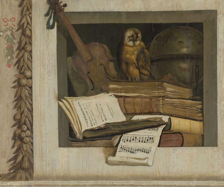 Stilleven met boeken, bladmuziek, viool, hemelglobe en een uil, Jacob van Campen, 1645 - 1650
