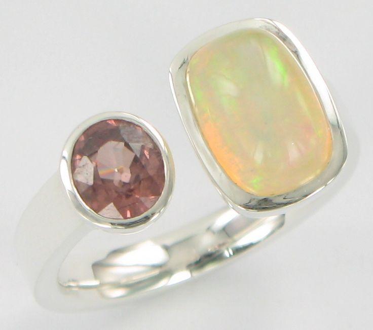 Open Ring crystal opal, pink zirkon ss