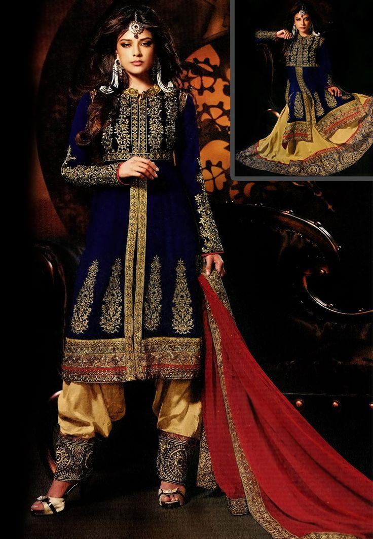 Dark Blue Velvet and Faux Georgette Salwar Kameez cum Lehenga Online Shopping: KEE18