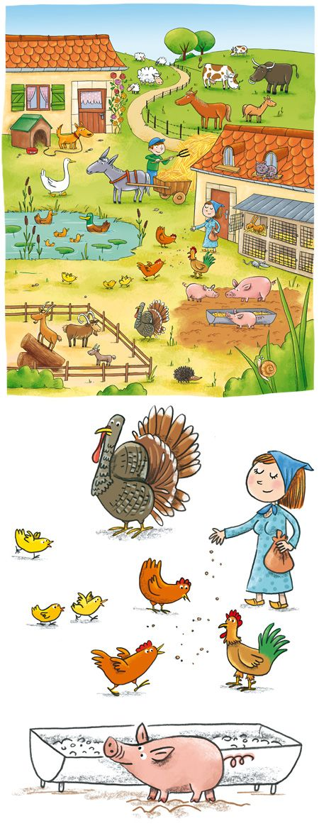 Speaking prompt: use this picture to get kids talking about the farm and farm animals in French. Les animaux de la ferme