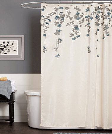 Take a look at this Ivory & Blue Flower Drops Shower Curtain by Lush Décor on #zulily today!
