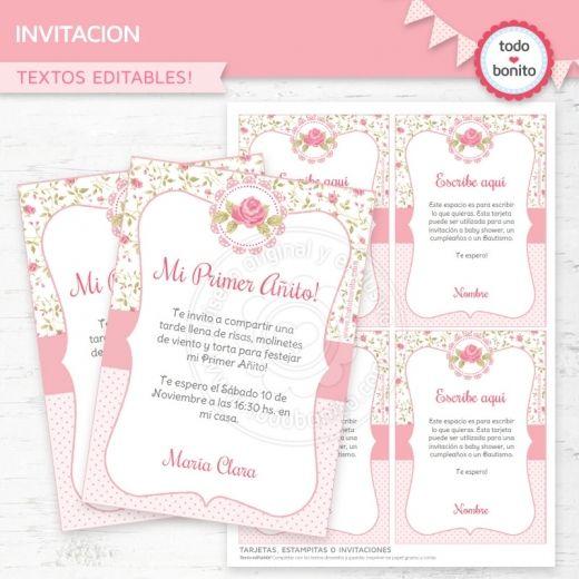 Shabby Chic Rosa: invitación para imprimir