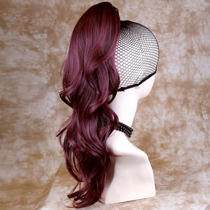 NEW Burgundy Red / Plum Wavy Long Ponytail Hair Piece Extension UK *** This is an Amazon Affiliate link. You can find more details by visiting the image link.