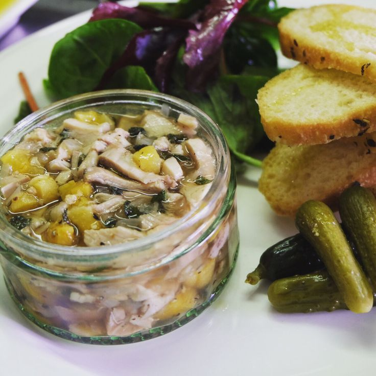 Terrine di conglio Rabbit terrine with Marsala and apricots. Served with cornichons and toasted bread.