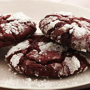 Red Velvet Crinkle Cookies: A deep red, chewy cookie that has a delicate crackled crust dusted with a touch of powdered sugar.