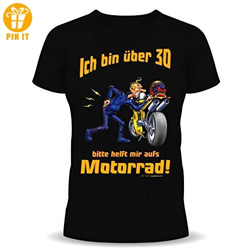 Fun T-Shirt zum Geburtstag: Ich bin über 30! Bitte helft mir aufs Motorrad! - Inkl. GRATIS Absperrband! XL - T-Shirts mit Spruch | Lustige und coole T-Shirts | Funny T-Shirts (*Partner-Link)
