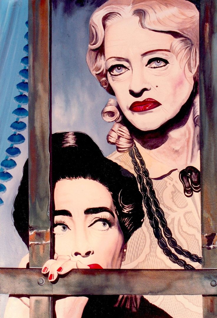 'WHATEVER HAPPENED TO BABY JANE?' Bette Davis & Joan Crawford as Baby Jane & Blanche Hudson from the 1962 classic. Original art by Robert Rechter (copyright) (please credit the artist when pinning to pinterest) hand-painted in gouache, pencil & Conté chalk on board. 1993 (minkshmink collection)