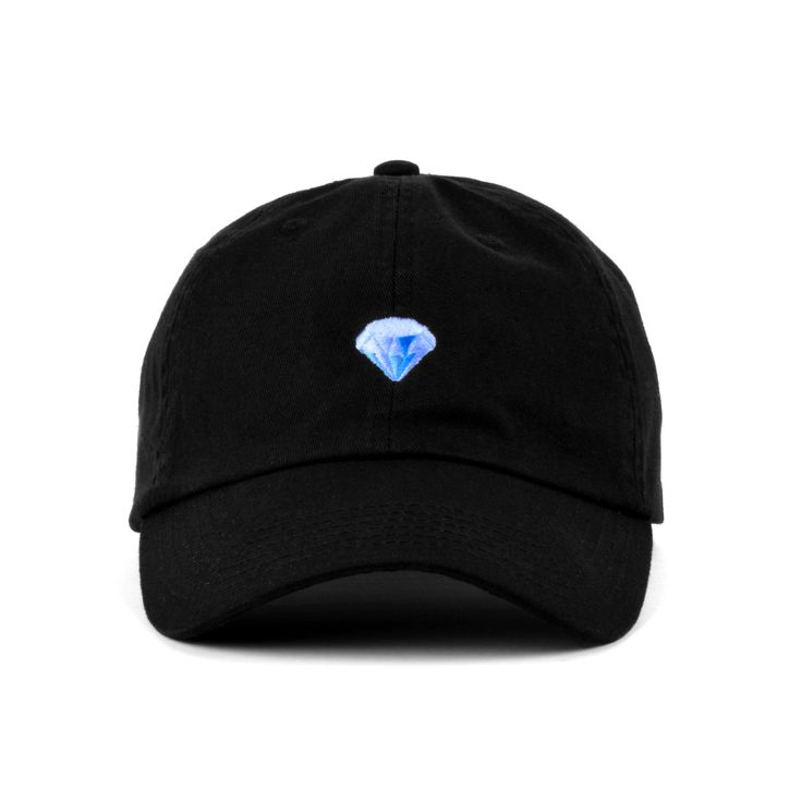 A 100% soft cotton strapback hat, with low profile build and metal buckle. Featuring the diamond emoji embroidery. Offered in Black or Olive colorways.