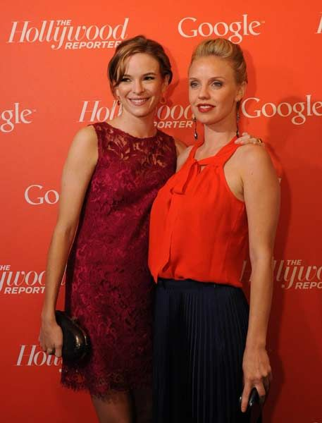 Actresses Danielle Panabaker (L) and Kelli Garner (R)  arrive at a red carpet event hosted by Google and the Hollywood Reporter, on the eve of the annual White House Correspondents' Association dinner in Washington on April 27, 2012.