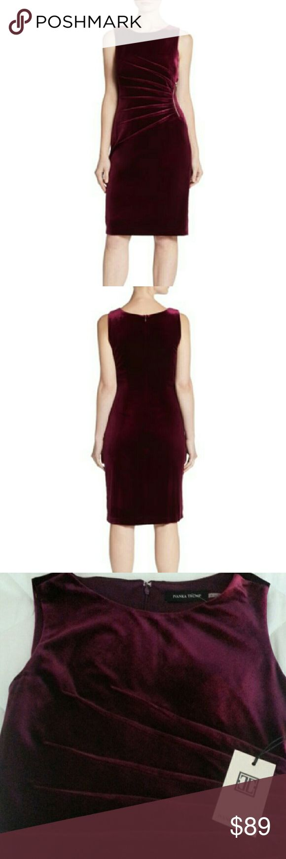 Ivanka Trump Plum Velvet Dress Soft Velvet dress with a burst of pleats and a zipper accent. Roundneck and concealed back zipper. Fully lined.   Brand new with tags.  90% Polyester 10% Spandex Ivanka Trump Dresses