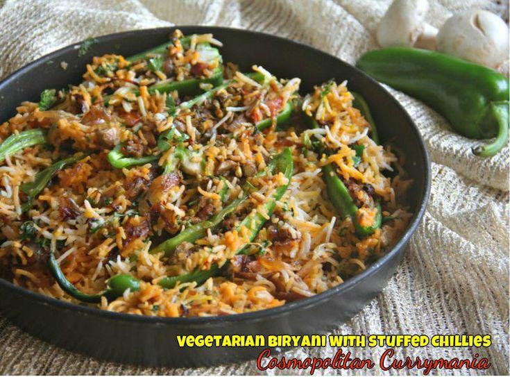 Vegetarian Biryani with Stuffed Chillies {Via @Purabi Naha}