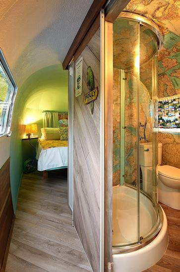 Love this Airstream Bath/Bedroom set up. Airstream Decor from NY Times 4