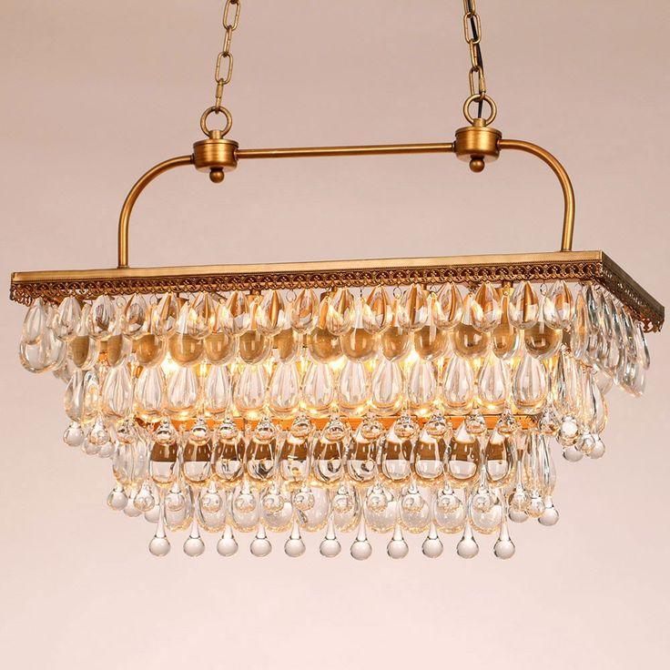 Vincy Retro Clear Glass Teardrop 5-Light Rectangular Pendant Light in Antique Brass