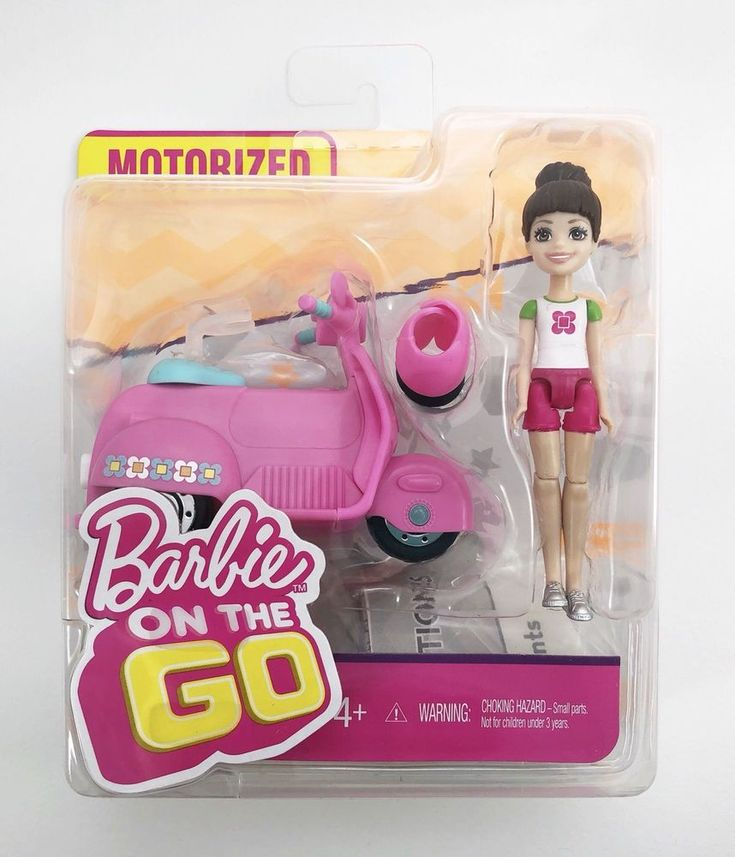 Barbie On The Go Pink Scooter Moped and Doll Motorized - Brunette - Brand New  #Mattel #VehicleDoll