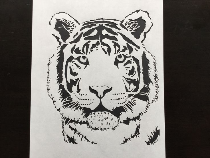 Tiger paper cutting on 100gsm weight paper
